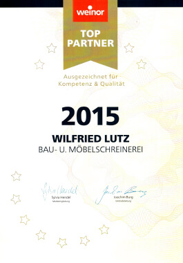 Urkunde weinor Top-Partner 2015 01