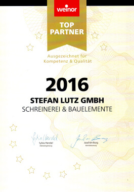 Urkunde weinor Top-Partner 2016