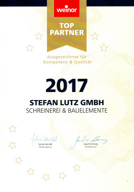 Urkunde weinor Top-Partner 2017