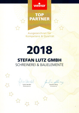Urkunde weinor Top-Partner 2018