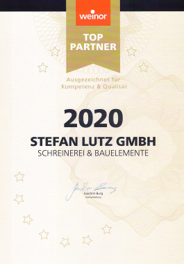 Urkunde weinor Top-Partner 2020